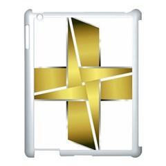 Logo Cross Golden Metal Glossy Apple Ipad 3/4 Case (white)