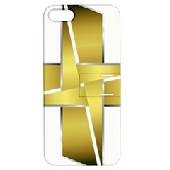 Logo Cross Golden Metal Glossy Apple Iphone 5 Hardshell Case With Stand