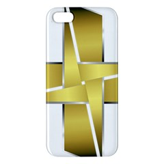 Logo Cross Golden Metal Glossy Apple Iphone 5 Premium Hardshell Case by Nexatart