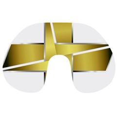 Logo Cross Golden Metal Glossy Travel Neck Pillows