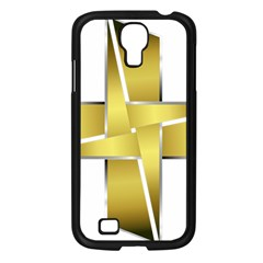 Logo Cross Golden Metal Glossy Samsung Galaxy S4 I9500/ I9505 Case (black) by Nexatart