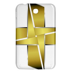 Logo Cross Golden Metal Glossy Samsung Galaxy Tab 3 (7 ) P3200 Hardshell Case  by Nexatart