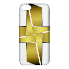 Logo Cross Golden Metal Glossy Apple Iphone 5c Hardshell Case by Nexatart