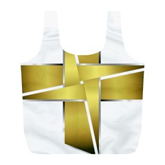 Logo Cross Golden Metal Glossy Full Print Recycle Bags (l)