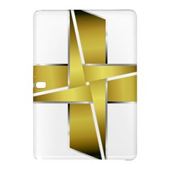 Logo Cross Golden Metal Glossy Samsung Galaxy Tab Pro 10 1 Hardshell Case by Nexatart