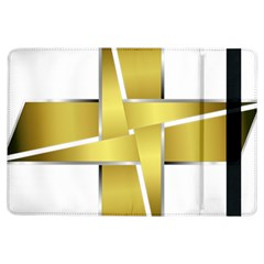 Logo Cross Golden Metal Glossy Ipad Air Flip by Nexatart