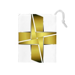 Logo Cross Golden Metal Glossy Drawstring Pouches (medium)  by Nexatart