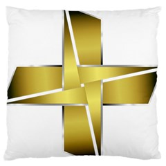 Logo Cross Golden Metal Glossy Large Flano Cushion Case (two Sides)