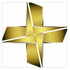 Logo Cross Golden Metal Glossy Large Satin Scarf (square)