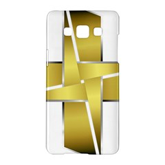 Logo Cross Golden Metal Glossy Samsung Galaxy A5 Hardshell Case  by Nexatart