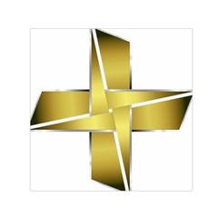 Logo Cross Golden Metal Glossy Small Satin Scarf (square) by Nexatart