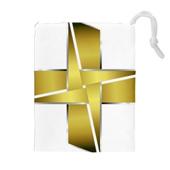 Logo Cross Golden Metal Glossy Drawstring Pouches (extra Large)