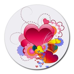 Heart Red Love Valentine S Day Round Mousepads
