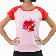 Heart Red Love Valentine S Day Women s Cap Sleeve T Shirt