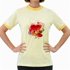 Heart Red Love Valentine S Day Women s Fitted Ringer T Shirts