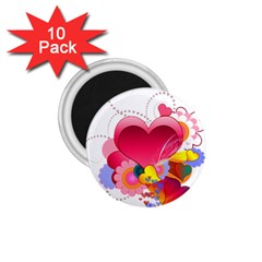 Heart Red Love Valentine S Day 1 75  Magnets (10 Pack)  by Nexatart