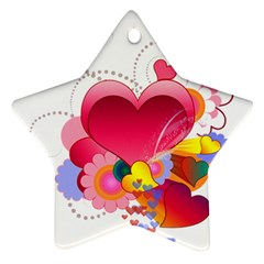 Heart Red Love Valentine S Day Star Ornament (two Sides)