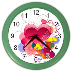 Heart Red Love Valentine S Day Color Wall Clocks by Nexatart