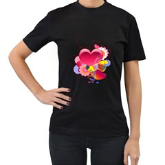 Heart Red Love Valentine S Day Women s T Shirt (black)