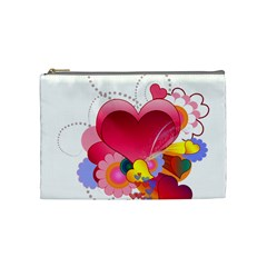 Heart Red Love Valentine S Day Cosmetic Bag (medium)