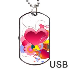 Heart Red Love Valentine S Day Dog Tag Usb Flash (one Side) by Nexatart