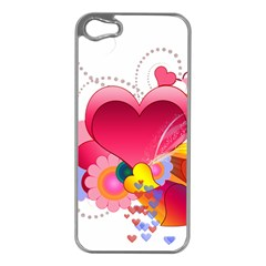 Heart Red Love Valentine S Day Apple Iphone 5 Case (silver) by Nexatart