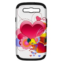 Heart Red Love Valentine S Day Samsung Galaxy S Iii Hardshell Case (pc+silicone) by Nexatart