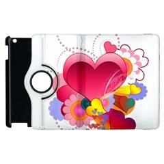 Heart Red Love Valentine S Day Apple Ipad 2 Flip 360 Case by Nexatart