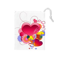 Heart Red Love Valentine S Day Drawstring Pouches (medium)