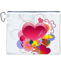 Heart Red Love Valentine S Day Canvas Cosmetic Bag (xxxl) by Nexatart