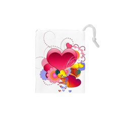 Heart Red Love Valentine S Day Drawstring Pouches (xs)