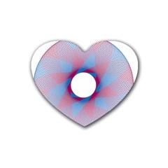 Spirograph Pattern Drawing Design Rubber Coaster (heart)  by Nexatart