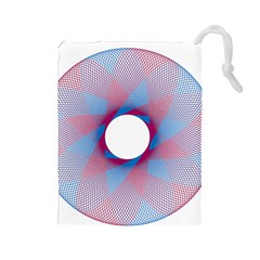 Spirograph Pattern Drawing Design Drawstring Pouches (large)