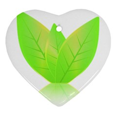 Leaves Green Nature Reflection Ornament (heart)