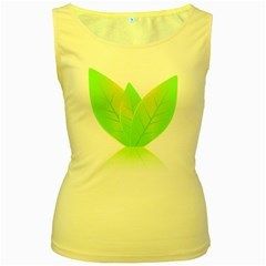 Leaves Green Nature Reflection Women s Yellow Tank Top