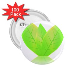 Leaves Green Nature Reflection 2 25  Buttons (100 Pack)
