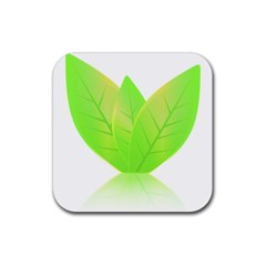 Leaves Green Nature Reflection Rubber Square Coaster (4 Pack)  by Nexatart