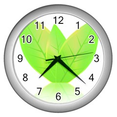 Leaves Green Nature Reflection Wall Clocks (silver)  by Nexatart