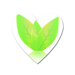 Leaves Green Nature Reflection Heart Magnet by Nexatart