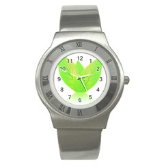 Leaves Green Nature Reflection Stainless Steel Watch by Nexatart