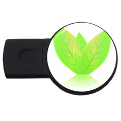 Leaves Green Nature Reflection Usb Flash Drive Round (4 Gb)