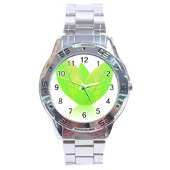 Leaves Green Nature Reflection Stainless Steel Analogue Watch by Nexatart