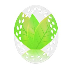 Leaves Green Nature Reflection Oval Filigree Ornament (two Sides) by Nexatart
