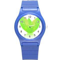 Leaves Green Nature Reflection Round Plastic Sport Watch (s) by Nexatart