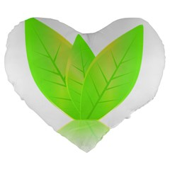 Leaves Green Nature Reflection Large 19  Premium Heart Shape Cushions by Nexatart