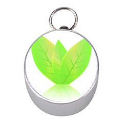 Leaves Green Nature Reflection Mini Silver Compasses by Nexatart