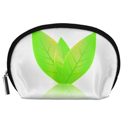 Leaves Green Nature Reflection Accessory Pouches (large)  by Nexatart