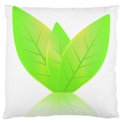 Leaves Green Nature Reflection Large Flano Cushion Case (two Sides) by Nexatart