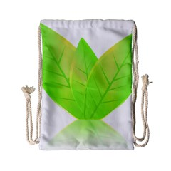 Leaves Green Nature Reflection Drawstring Bag (small) by Nexatart