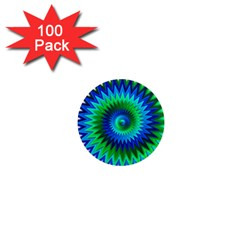 Star 3d Gradient Blue Green 1  Mini Magnets (100 Pack)